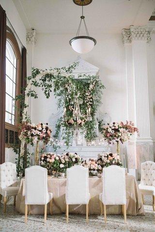 modern-indoor-garden-tablescape-tufted-chairs-flower-chandelier-pink-centerpiece