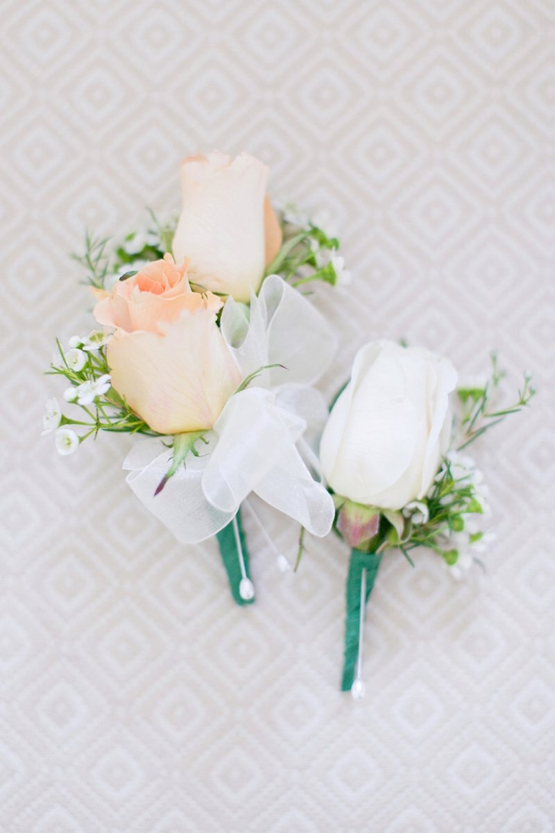 White & Peach Rose Boutonnieres