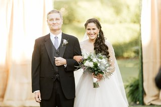 bride-in-illusion-long-sleeve-wedding-dress-succulent-moss-bouquet-long-hair-father-in-lavender-tie