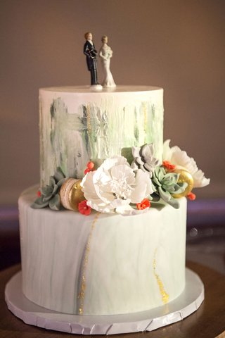 wedding-cake-two-layer-white-with-brushstroke-green-paint-inspiration-sugar-flowers-succulents