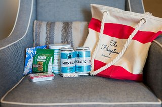 wedding-welcome-bag-red-white-stripe-tote-rope-handle-montauk-summer-ale-popcorn-tates-cookies-mints