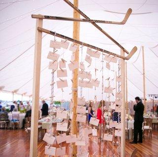 escort-card-display-with-hockey-sticks-for-brian-flynn-montreal-canadiens-hockey-player-wedding
