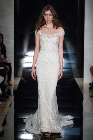 reem-acra-spring-2017-off-the-shoulder-wedding-dress-sheath-in-chantilly-lace