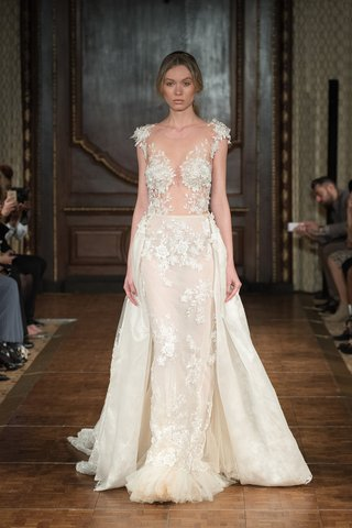 idan-cohen-fall-2017-princess-blush-and-nude-french-lace-column-gown-with-ruffled-tulle-overskirt