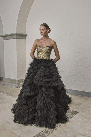 badgley-mischka-bride-2018-collection-wedding-dress-bianca-black-ball-gown-gold-top