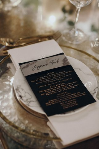 suzanna-villarreal-and-alex-wood-la-dodgers-wedding-reception-marble-plate-and-menu-card-calligraphy