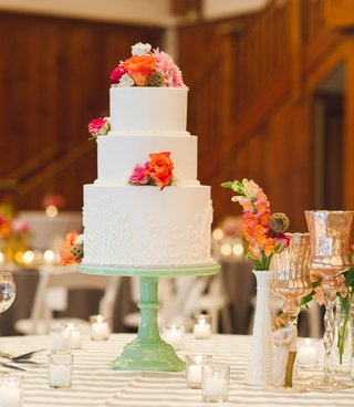 white-wedding-cake-with-pink-and-orange-flowers