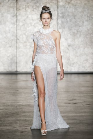 inbal-dror-fall-2018-one-shoulder-beaded-lace-gown-with-side-drape-feather-trim-and-floral-collar