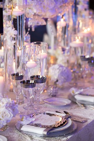 wedding-reception-place-setting-menu-card-orchid-silver-rim-champagne-flute-wine-glass-goblet