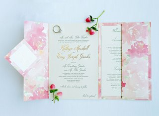 wedding-invitation-pastel-pink-coral-flower-print-invite-booklet-gold-foil-names-and-flowers
