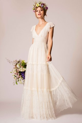 temperley-bridal-2016-flutter-sleeve-tiered-lace-skirt-v-neck-wedding-dress