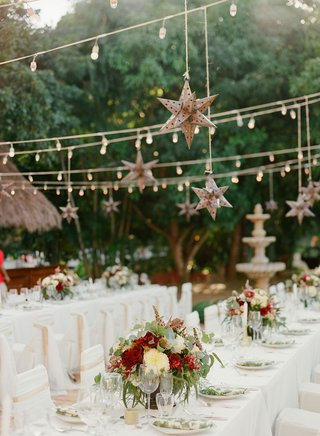 wedding-rehearsal-dinner-welcome-party-white-tables-low-burgundy-centerpiece-star-lantern-lights
