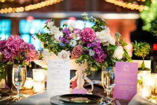 wedding-reception-paper-goods-purple-menu-with-gold-type-and-white-wine-list-pink-purple-centerpiece