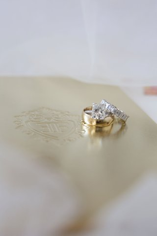 gold-polished-wedding-band-ring-and-engagement-ring-with-eternity-band-diamonds