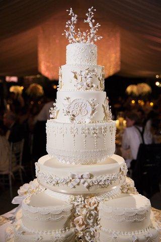 white-wedding-cake-very-traditional-white-cream-layers-monogram-ribbon-southern-style