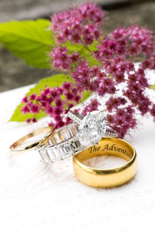 oval-diamond-engagement-ring-with-pave-band-with-eternity-band-and-mens-gold-wedding-ring-engraved
