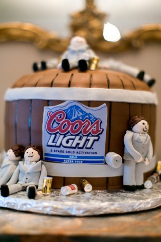 grooms-cake-in-the-shape-of-a-beer-barrel-with-coors-light-label-sugar-groomsmen-forms-in-grey