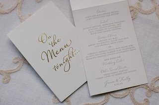 wedding-menu-white-with-gold-foil-calligraphy-on-the-menu-tonight-menu-selections