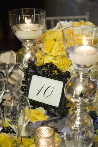 table-number-in-baroque-black-frame-with-yellow-flowers