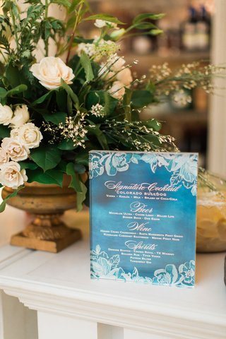 wedding-reception-blue-and-white-flower-design-drink-menu-with-signature-cocktail-and-beer-wine