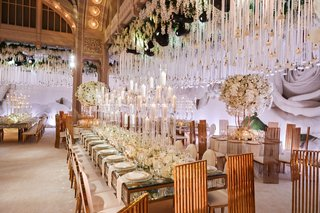 wedding-reception-new-york-public-library-candelabra-white-fllowers-gold-chairs-roses-hanging