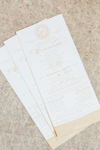 white-and-nude-wedding-itinerary-gold-details-ceremony-program-wedding-party