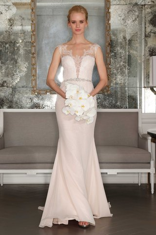 romona-keveza-collection-bridal-spring-2017-chiffon-wedding-dress-plunging-neckline-with-lace-straps