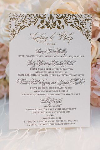 ceci-new-york-wedding-reception-menu-with-golden-damask-print