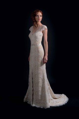 modern-trousseau-fall-2016-lace-cap-sleeve-wedding-dress-with-slit