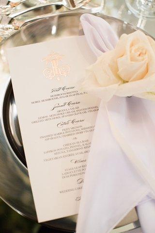 wedding-reception-place-setting-menu-card-rose-gold-foil-monogram-napkin-white-ivory-rose
