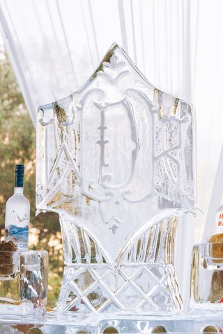 monogram-ice-sculpture-and-vodka-martini-luge