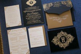 blue-black-gold-invitation-suite-catholic-california-wedding-calligraphy-katrina-wedding