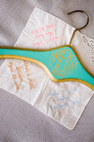 turquoise-and-gold-mrs-hanger-embroidered-handkerchief-with-sorority-sisters-wedding-dates