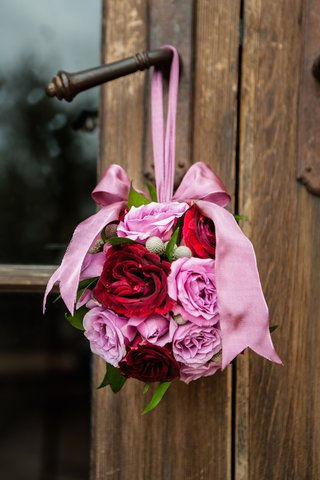 round-bouquet-pomander-for-flower-girl-with-pink-and-red-roses