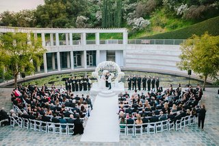 wedding-at-skirball-cultural-center-guests-in-semi-circle-watch