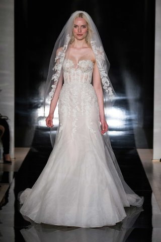 reem-acra-spring-2017-strapless-wedding-dress-corset-top-fit-and-flare-embroidered-lace-and-veil