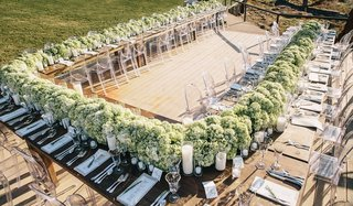 rustic-wood-table-topped-with-green-hydrangea-runner