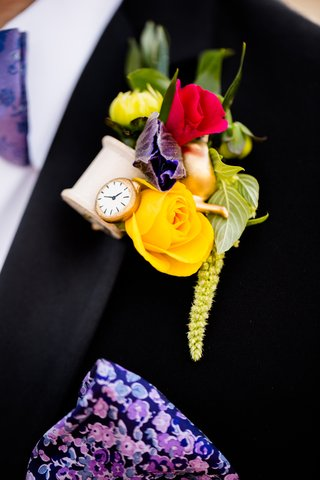 alice-in-wonderland-inspired-boutonniere-with-yellow-rose-wooden-spool-gold-teapot-clock