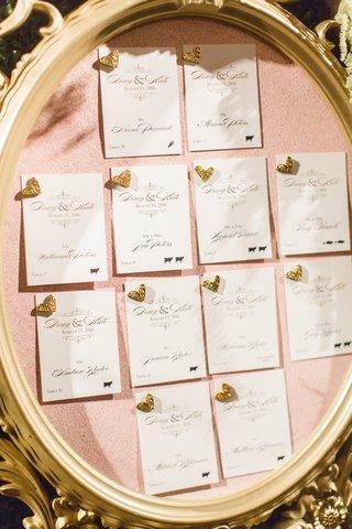 gold-frame-pink-bulletin-board-gold-heart-pins-escort-cards-wedding-idea