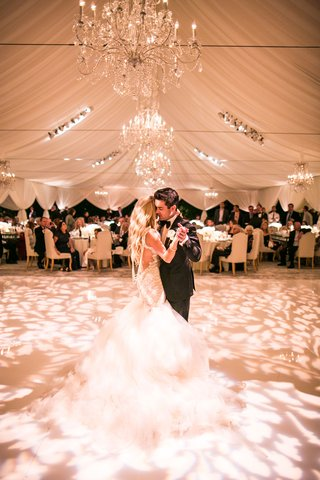 bride-in-galia-lahav-wedding-dress-pearls-low-back-long-hair-dancing-with-groom-tent-wedding