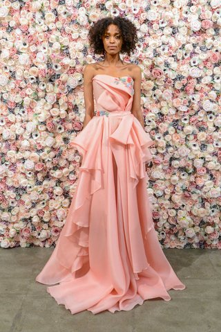 michael-costello-spring-summer-2018-bridal-couture-collection-pink-strapless-dress-flower-embroidery
