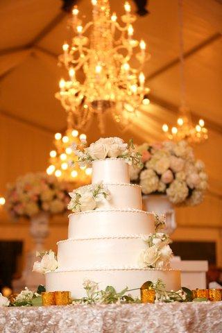 white-wedding-cake-flower-embellished-cake