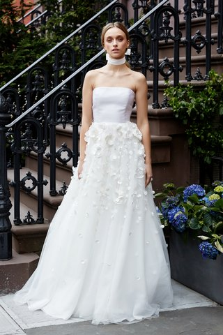 the-darlington-by-lela-rose-spring-2019-strapless-tailored-bodice-a-line-degrade-3d-floral-skirt