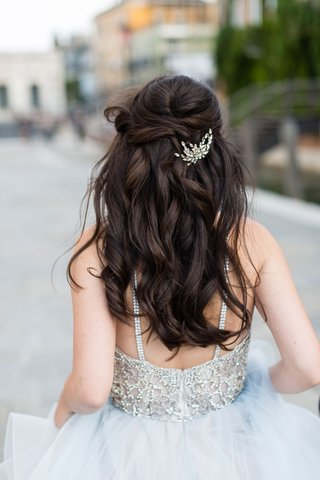 bride-in-beaded-wedding-dress-hayley-paige-long-brown-hair-curled-half-up-half-down-crystal-piece