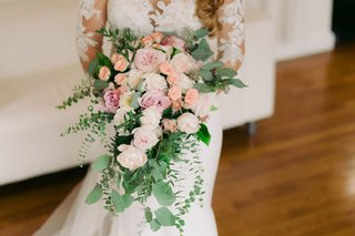 cascading-bridal-bouquet-with-garden-roses-peonies-dahlias-and-greenery