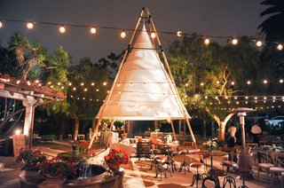 night-shot-of-courtyard-wedding-reception-with-large-white-teepee-tepee-tipi-string-globe-lights