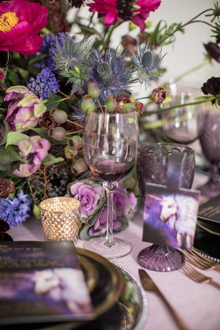 wedding-inspiration-shoot-purple-unicorn-design-purple-wine-glass-goblet-with-pink-purple-greenery