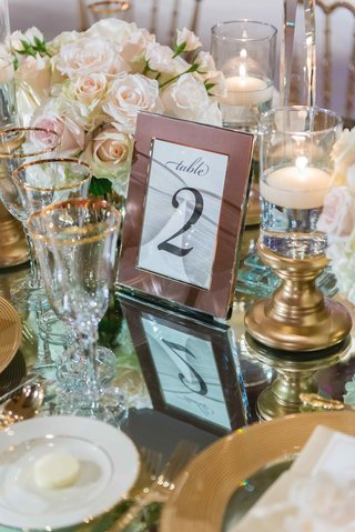 framed-table-number-on-mirror-reception-table-with-gold-candle-holder-floating-candles-rimmed-glasse