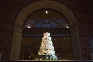 5-tier-five-white-wedding-cake-dayton-ohio-fresh-leaves-greenery-around-desserts-yummy-simple