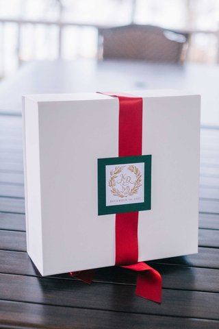 welcome-box-for-holiday-wedding-white-box-red-ribbon-green-tag-gold-monogram
